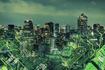 Fototapete - Double exposure of modern cityscape and electric circuit.