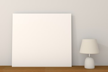 empty board put on the table with lamp, 3D Rendering