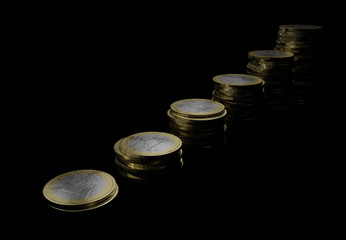growing coin euro stacks 3d illustration on black background