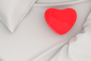 Red heart on bed, 3D Rendering