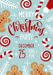 Christmas party invitation hand drawn lettering and ornament decoration. Christmas holidays flyer or poster design.