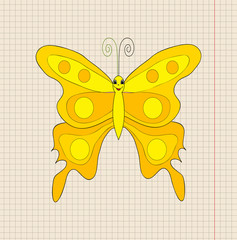 vector, yellow butterfly