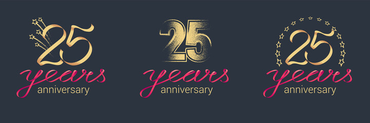 25 years anniversary vector icon, logo set
