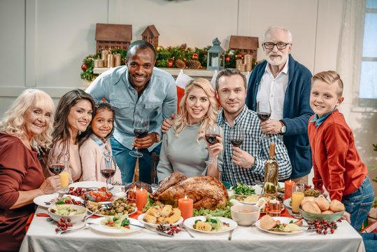large family celebrating christmas
