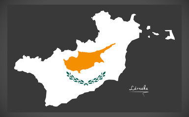 Larnaka map of Cyprus with Cyprian national flag illustration