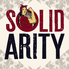 Women Solidarity Sign Logo. Vintage propaganda poster and elements. Isolated artwork object. Suitable for and any print media need.