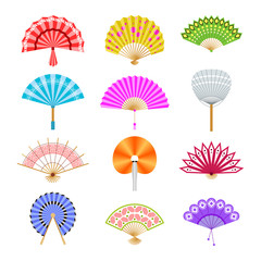 Hand paper fan vector icons. Chinese or japanese beautiful fans isolated. Colorful japanese souvenir fans illustration. Flat style