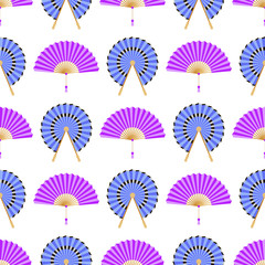 Hand paper fan vector seamless pattern. Chinese or japanese beautiful fans isolated. Colorful asian souvenir fans illustration. Flat style.