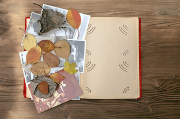 Vintage photo album book in autumn leaves on wooden table background.