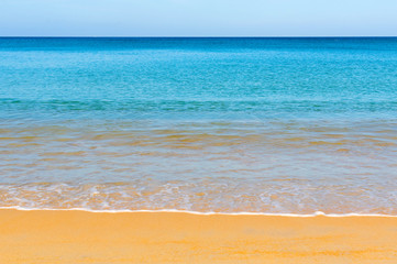 Beautiful tropical beach with sea view, clean water and blue sky