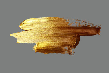 hand drawing gold brush stroke paint