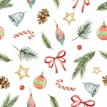 Watercolor vector Christmas seamless pattern with fir branches, gifts and cones.