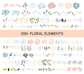 Autocollant pour porte Style Boho Set of floral elements