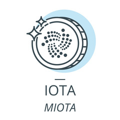 IOTA cryptocurrency coin line, icon of virtual currency