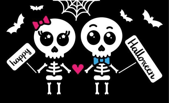 Cute kawaii skeleton love couple boy and girl happy halloween card