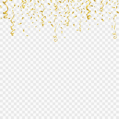 Golden confetti isolated on checkered background. Festive vector