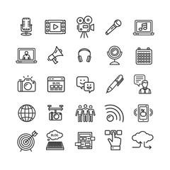 Blogging Black Thin Line Icon Set. Vector