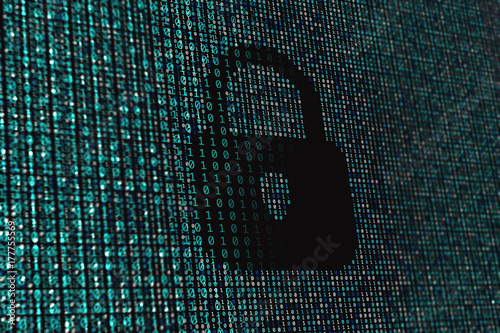 Binary data code background with locked padlock icon  Online