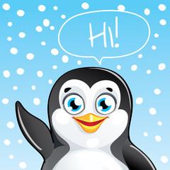 Vector illustration of cartoon penguin. Hi