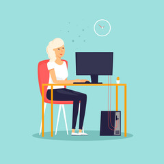 Secretary. Girl sitting at the computer, office, work. Flat design vector illustration.