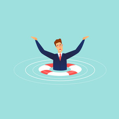 Sinking businessman. Lifebuoy. Flat design vector illustration. .