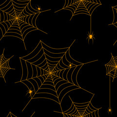 Seamless pattern spider web and spiders Drawing Vector