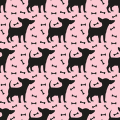 Seamless pattern with black silhouettes of chihuahua.