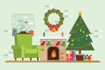 Christmas tree gift has santa claus in window and decoration in fireplace room
