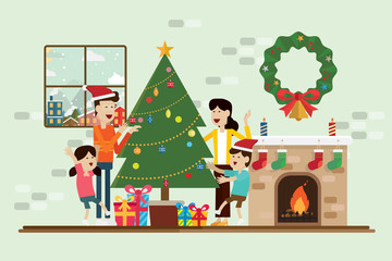 Family in the Christmas day and decoration in fireplace room vector.