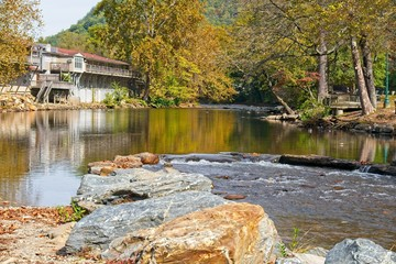 Beautiful trout stream flowing through Cherokee NC, close to the Blue Ridge Parkway