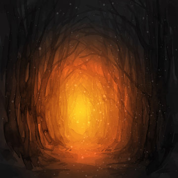 Woodland path. Ghostly forest trail, watercolor illustration. Old trees, enchanted forest, into the woods. Halloween vector background. Magic lights.