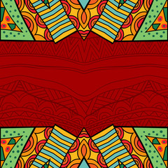 Aztec style tribal ornate background in bright colors.