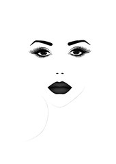 Beautiful woman face portrait, black and white vector illustration
