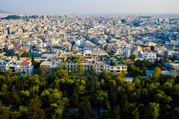 Panoramic view on Athens. Urbanization and city lifestyle.