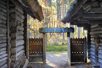 Gates in an old house in autumn