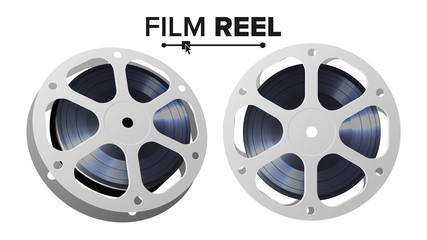 Film Reel Vector. Retro Movie Object. Classic Twisted Cinema Tape. Isolated Illustration.