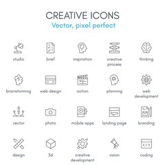 Creative theme line icon set.