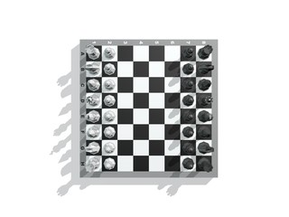 Chess board with figures. Isolated on white background.