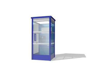 Phone booth. Isolated on white background. 3D rendering illustration.
