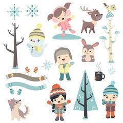 Cute children outdoors with animals and snowman in winter design set