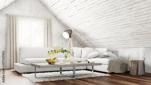 Interior Design Von Dachgeschoss Wohnzimmer Mit Sofa