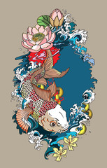 japanese koi gold carp fish . Lotus flower with water splash and feng shui money coins . Illustration tattoo style drawing