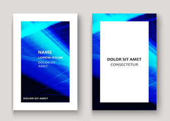 Modern technology striped abstract covers design blue. Neon lines background frame. Trendy geometric template vector illustration for Cover Report Catalog Brochure Flyer Poster Banner Card