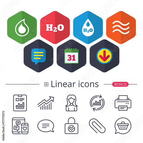 H2o Water Drop Icons Tear Or Oil Symbols Stock Image And Royalty