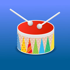Toy drum icon vector illustration.