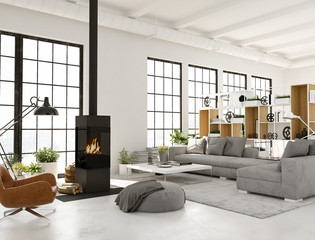3d rendering. living room with fireplace in modern loft apartment.
