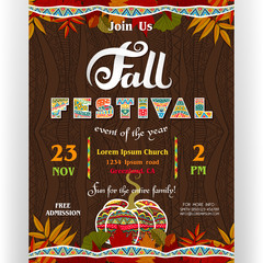 Fall festival poster template with customized text for celebration and ornate pumpkin.