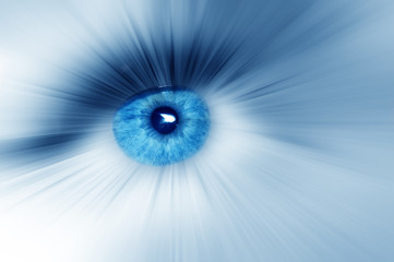 Beautiful blue eye with diverge rays in all directions, abstract dreamy artistic image Macro