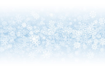 Winter Season Blank Vector Background. Frost Effect on Glass with Realistic Snowflakes Overlay on Light Blue Backdrop. Merry Christmas Holidays Sale