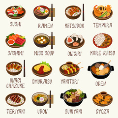 Japanese cuisine vector illustration